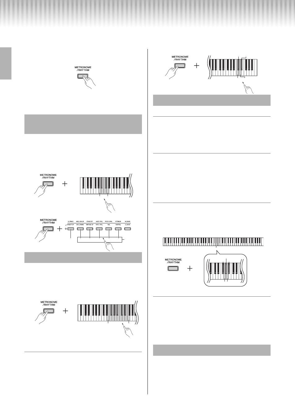 Utilisation du métronome/rythme, Sélection d'un temps (indication de