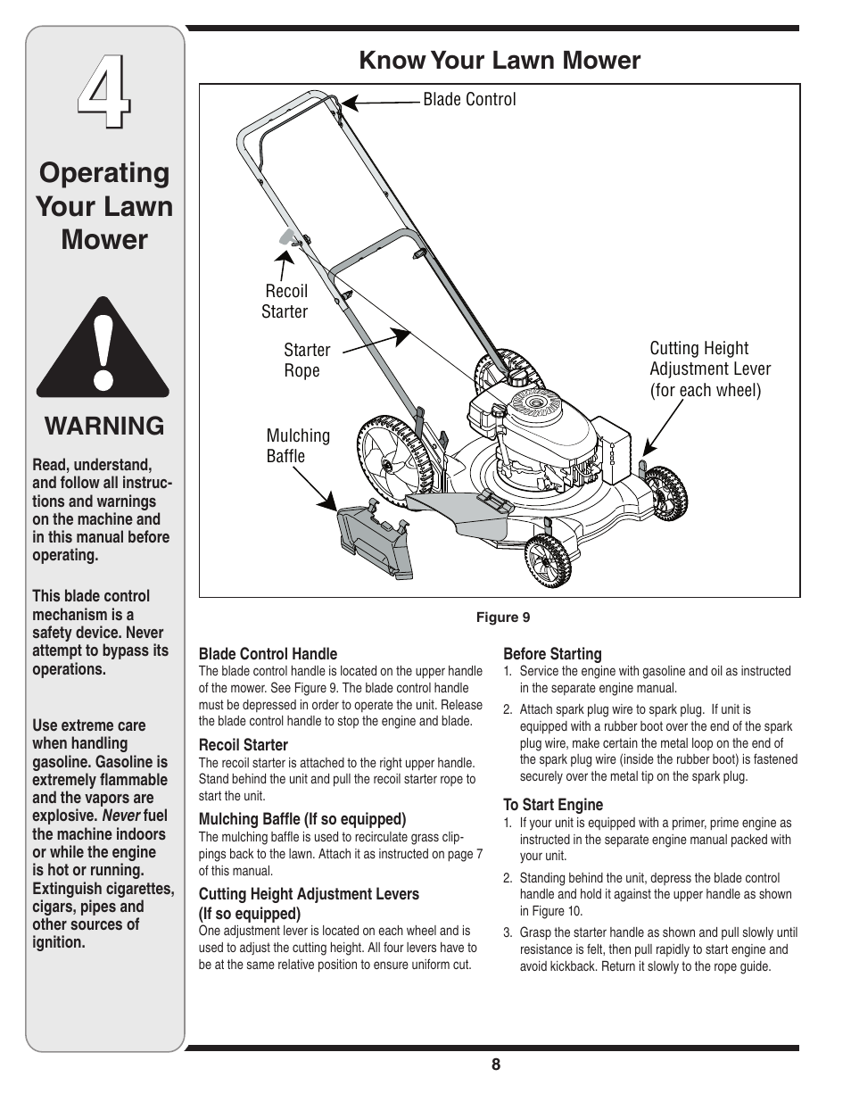 Operating your lawn mower, Know your lawn mower, Warning