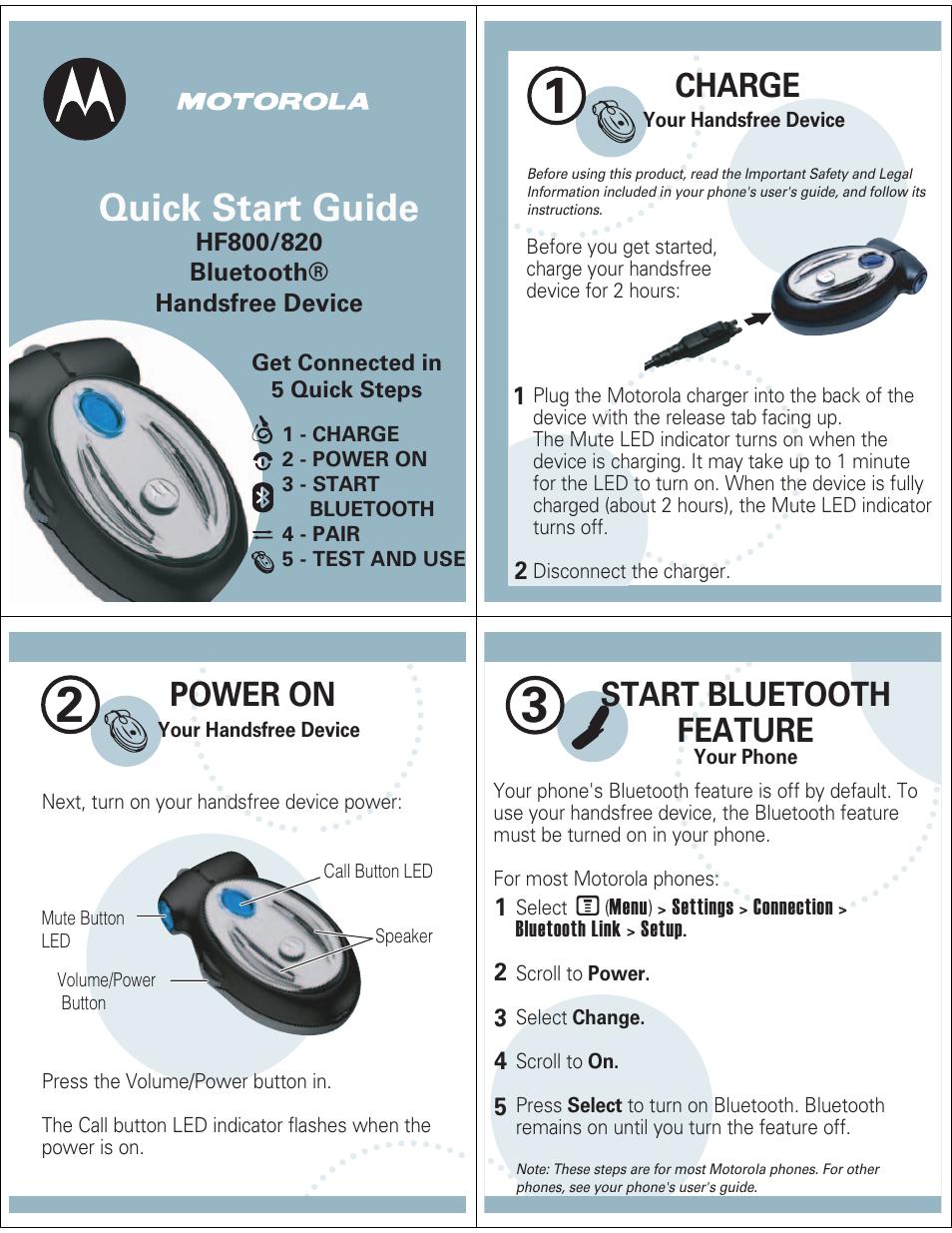 f622d770be5 Motorola HF800 Manuel d'utilisation   Pages: 5   Aussi pour: HF820