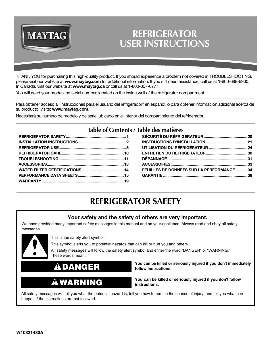 maytag installation manual