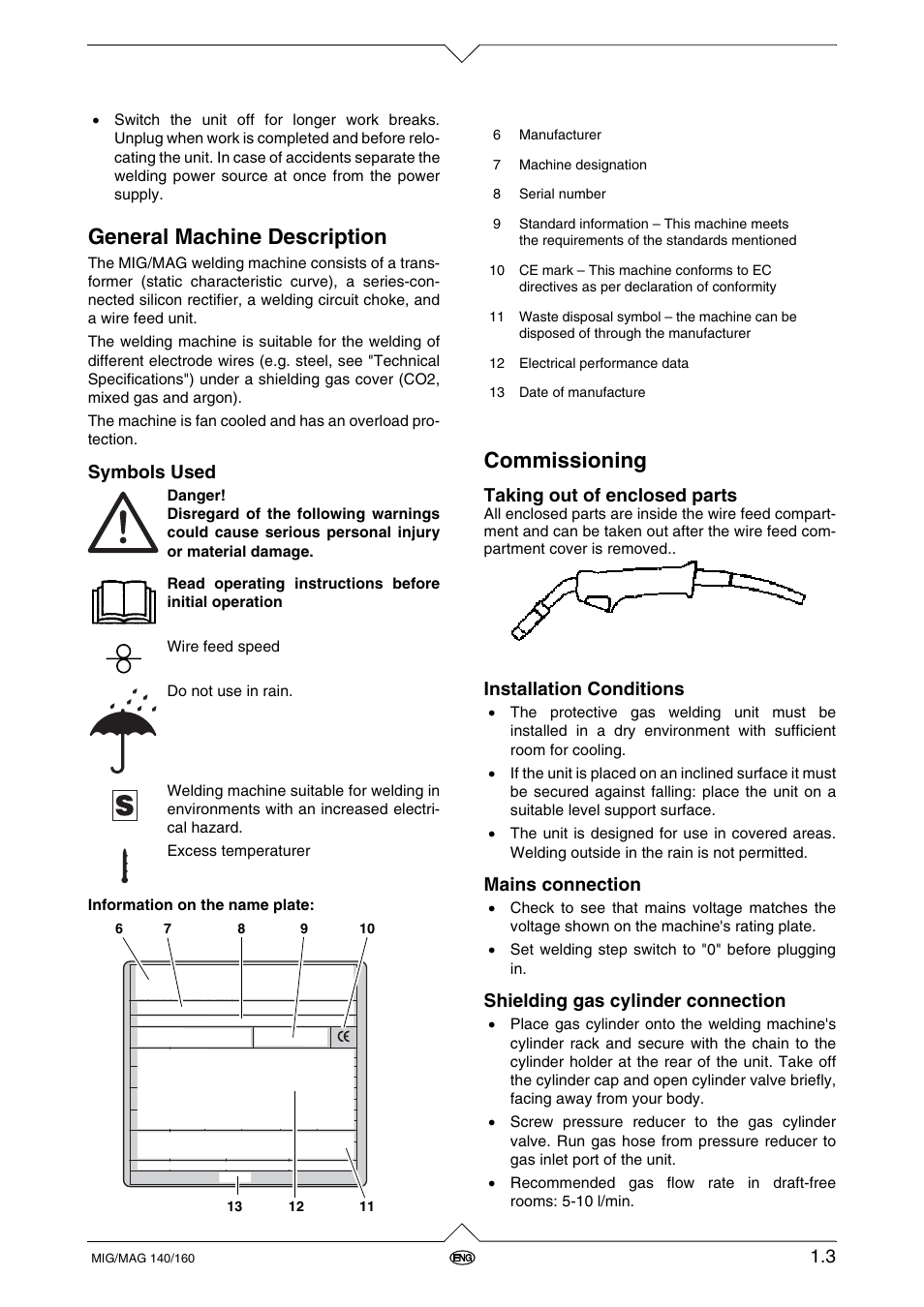 General machine description, Commissioning, Symbols used | Metabo ...