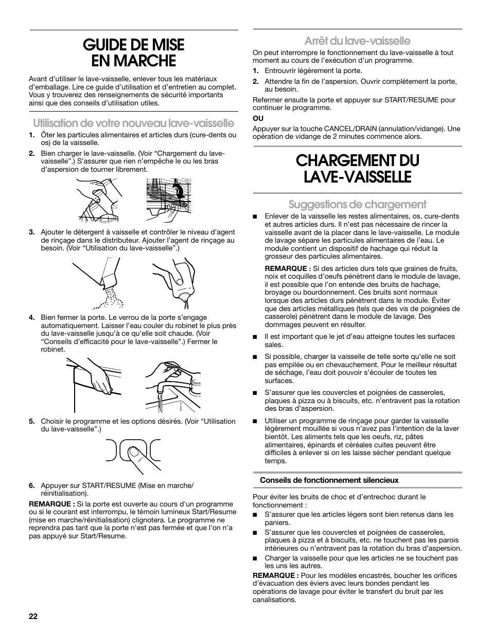 Guide De Mise En Marche Chargement Du Lave Vaisselle Utilisation
