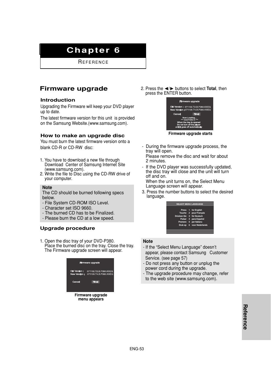 Firmware upgrade, Reference   Samsung DVD-P380 Manuel d'utilisation