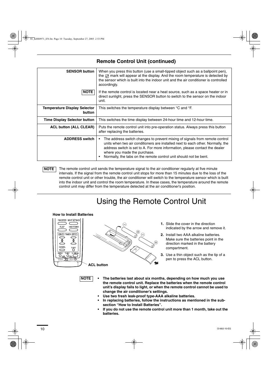 Using the remote control unit, Remote control unit