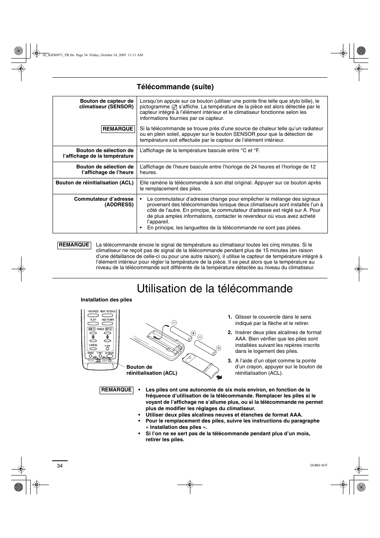 Utilisation de la télécommande, Télécommande (suite) | Sanyo
