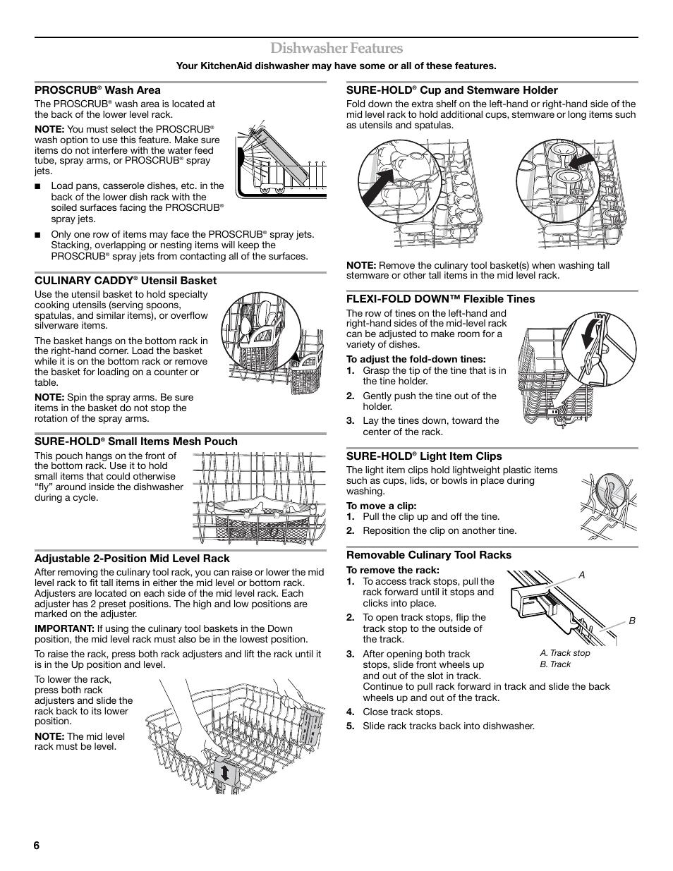 Dishwasher features | KITCHENAID W10205938A Manuel d