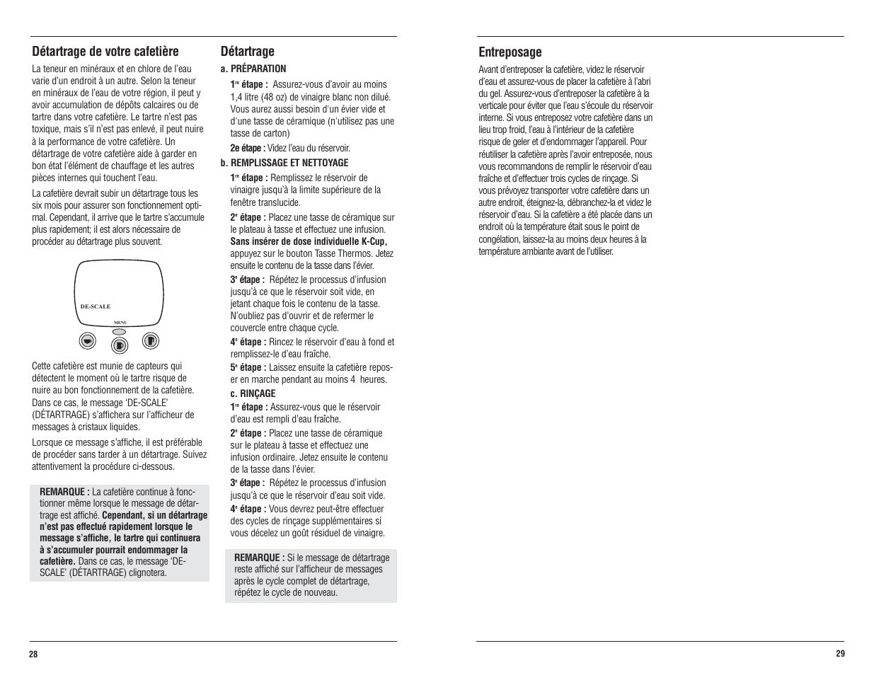 d tartrage de votre cafeti re d tartrage entreposage keurig b60 manuel d 39 utilisation page. Black Bedroom Furniture Sets. Home Design Ideas