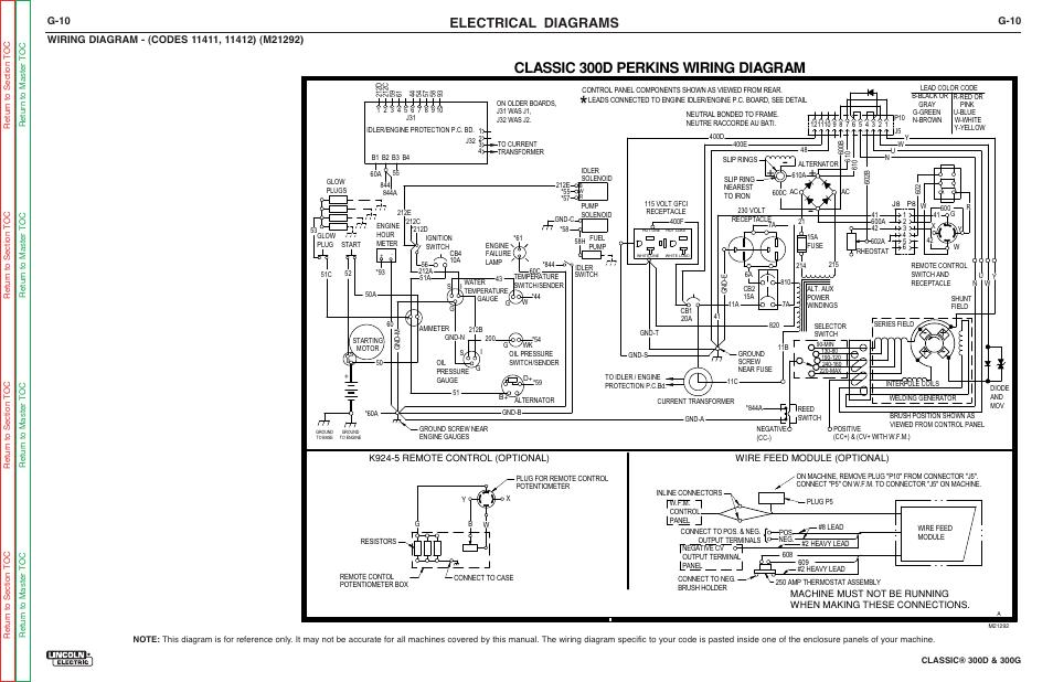 Classic 300d perkins wiring diagram, Electrical diagrams, G-10 | Lincoln  Electric CLASSIC SVM194-A Manuel d'utilisation | Page 216 / 232Modes-d-emploi.com