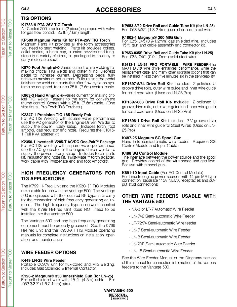 Accessories Lincoln Electric Vantage Svm178 B Manuel Dutilisation K870 Wiring Diagram Page 135 278