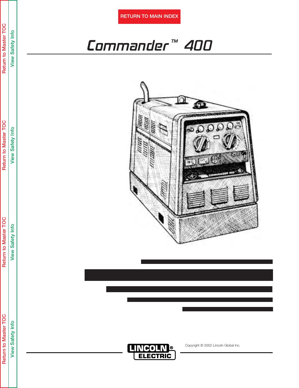 lincoln electric commander 400 svm133 b manuel d utilisation pages rh modes d emploi com