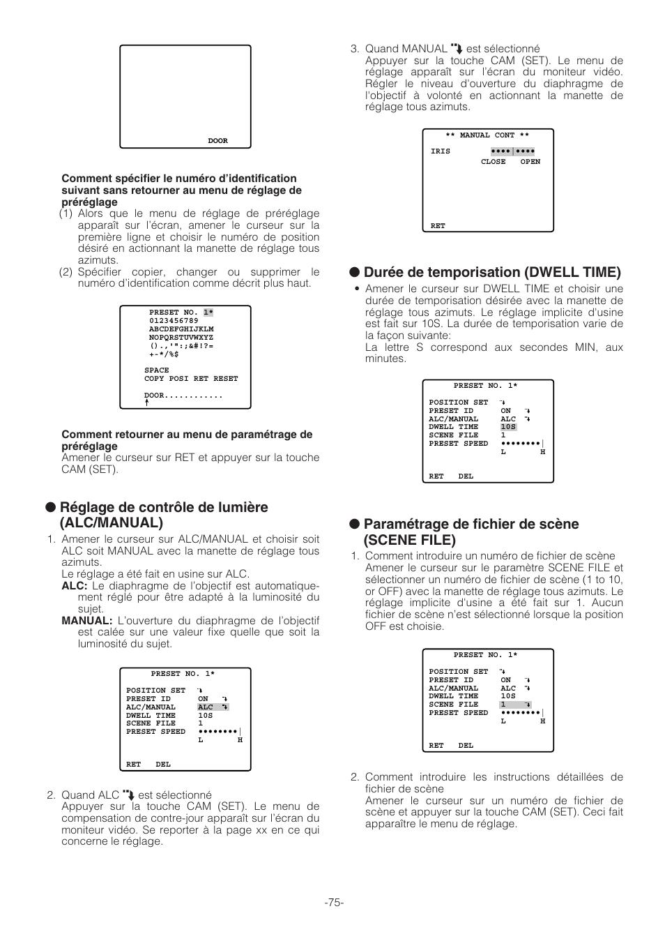 Réglage de contrôle de lumière (alc manual), Durée de temporisation (dwell  time), Paramétrage de fichier de scène (scene file)   Panasonic WV-CW864A  Manuel ... f357386dcada