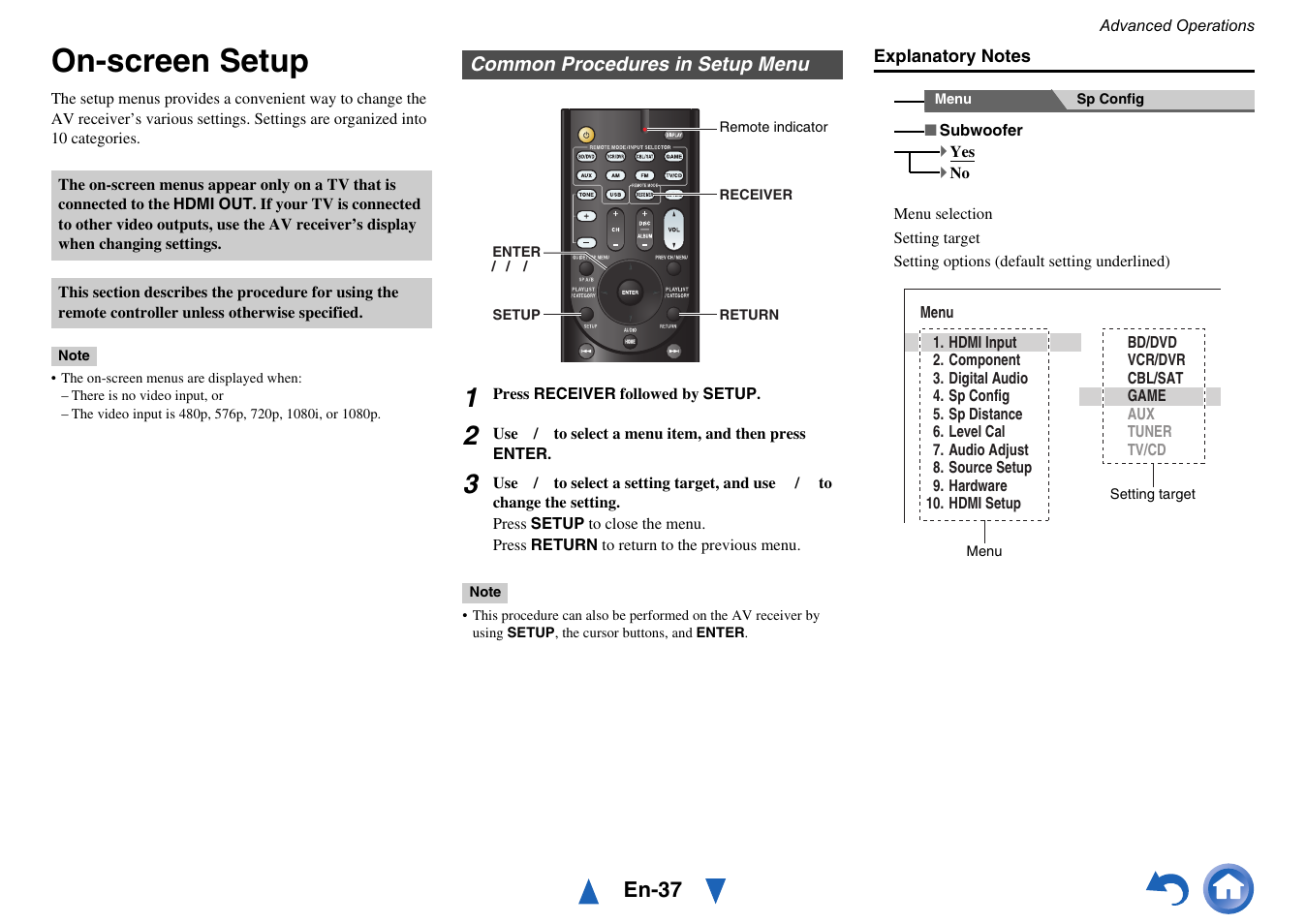 Advanced operations, On-screen setup, Common procedures in