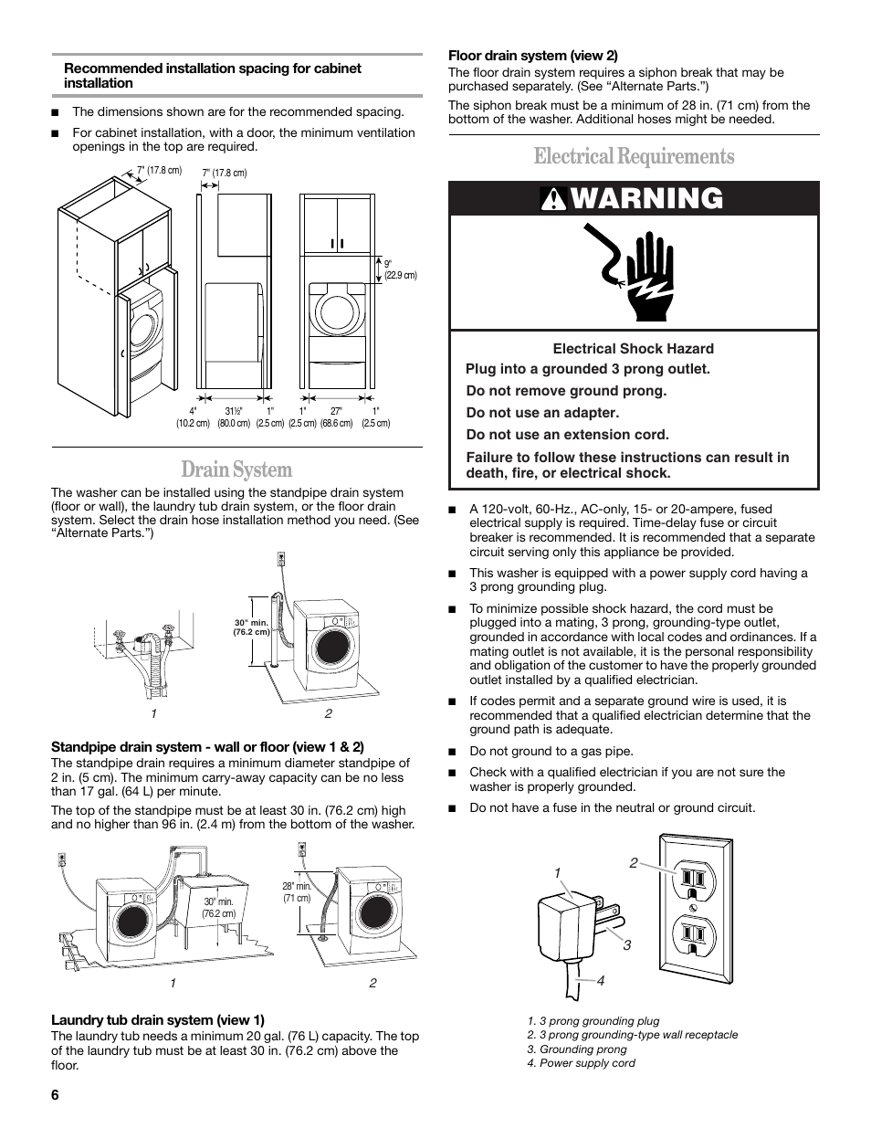 Warning Drain System Electrical Requirements Whirlpool Duet Ht 3 Prong Grounded Plug Wiring Diagram Ghw9250ml1 Manuel Dutilisation Page 6 44