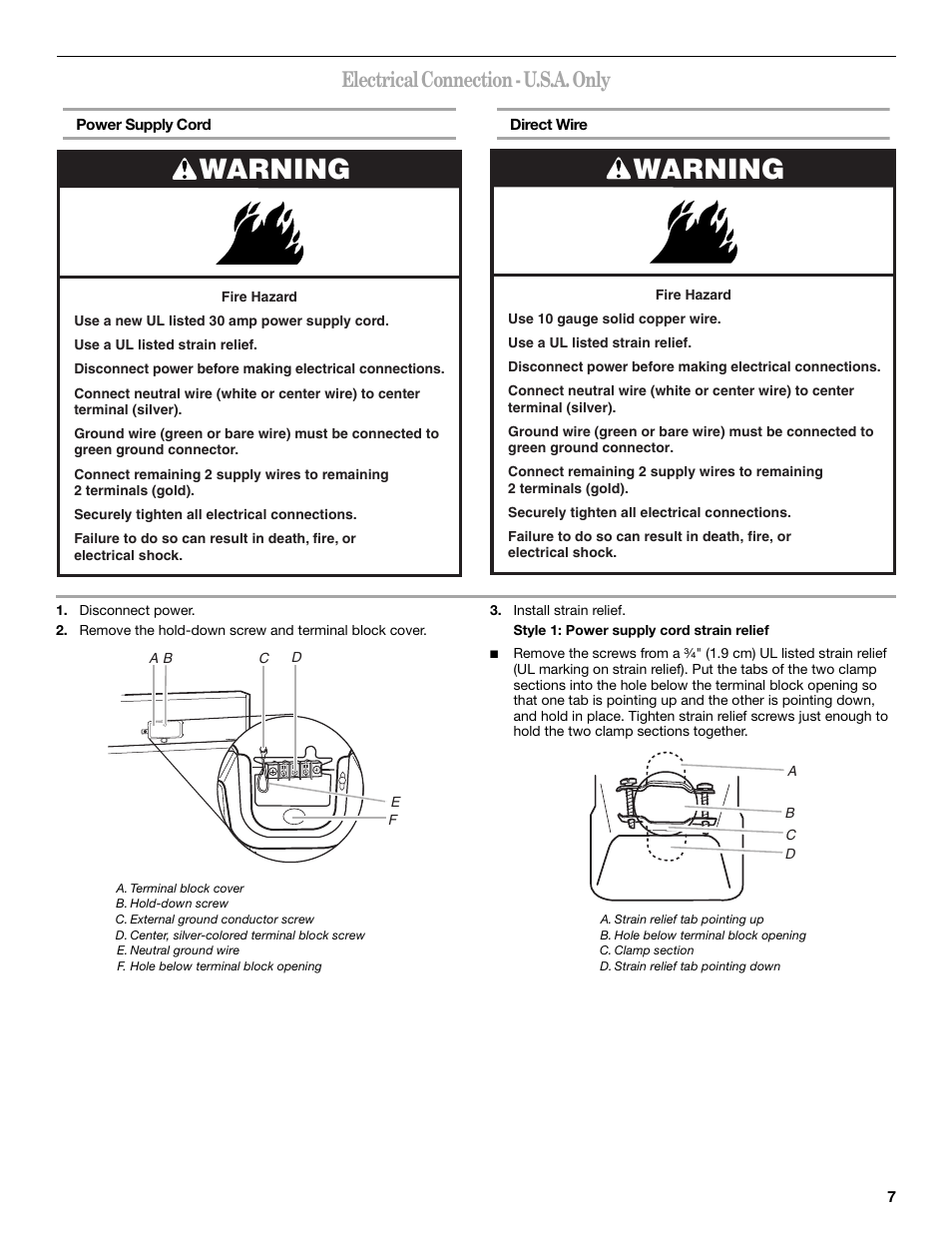 Warning Electrical Connection Usa Only Whirlpool Cabrio Wiring White Black Silver Gold W10151493a Manuel Dutilisation Page 7 48