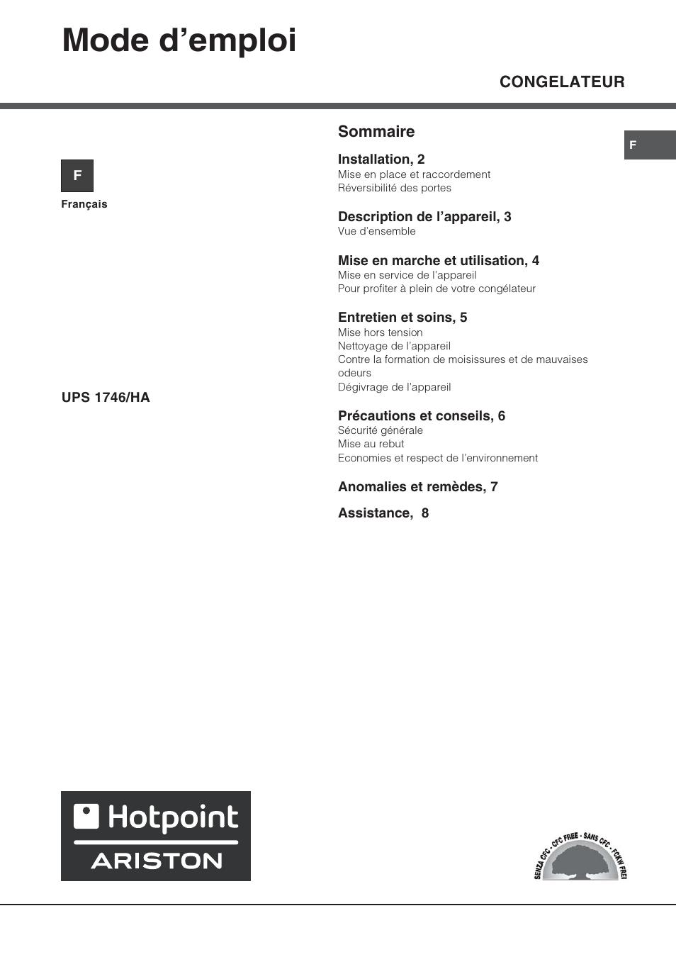 hotpoint ariston ups 1746 ha manuel d 39 utilisation pages 8. Black Bedroom Furniture Sets. Home Design Ideas