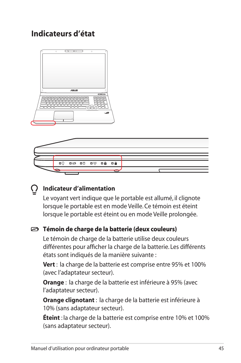 indicateurs d tat indicateurs d tat asus g75vx manuel d 39 utilisation page 45 131. Black Bedroom Furniture Sets. Home Design Ideas