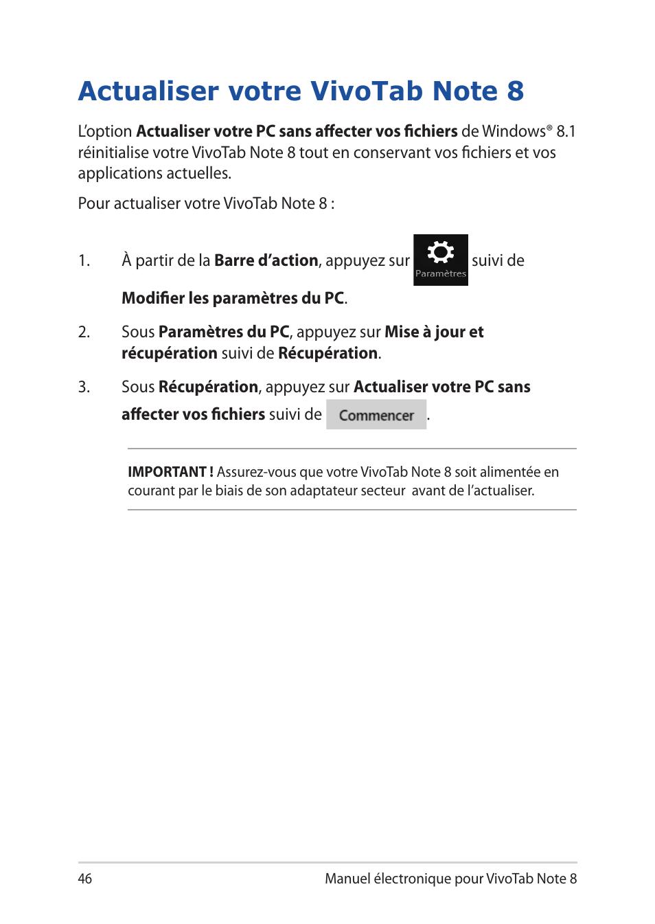 Actualiser votre vivotab note 8 | Asus R80TA Manuel d