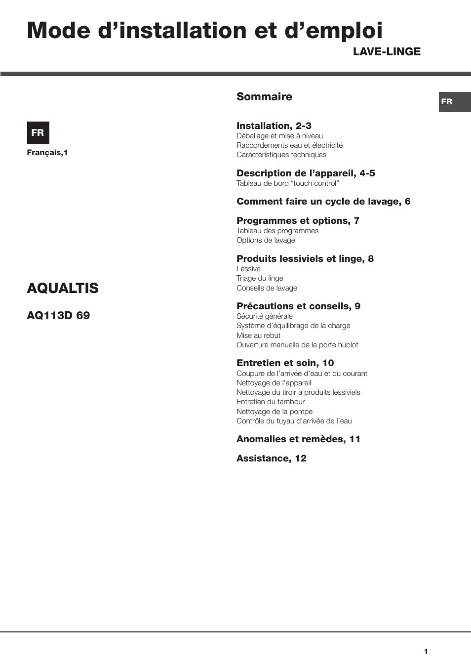 hotpoint ariston aqualtis aq113d 69 fr manuel d 39 utilisation pages 12. Black Bedroom Furniture Sets. Home Design Ideas