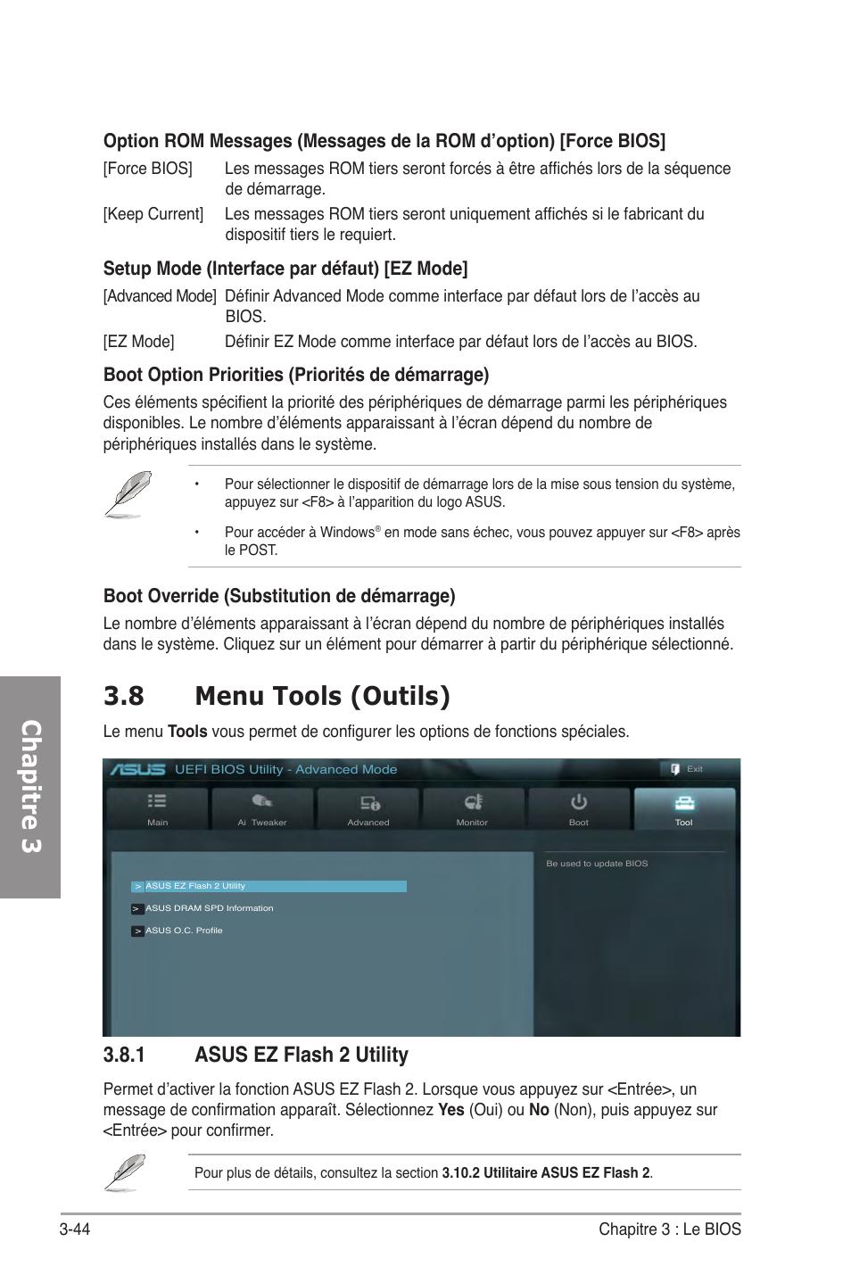 8 menu tools (outils), 1 asus ez flash 2 utility, Menu tools