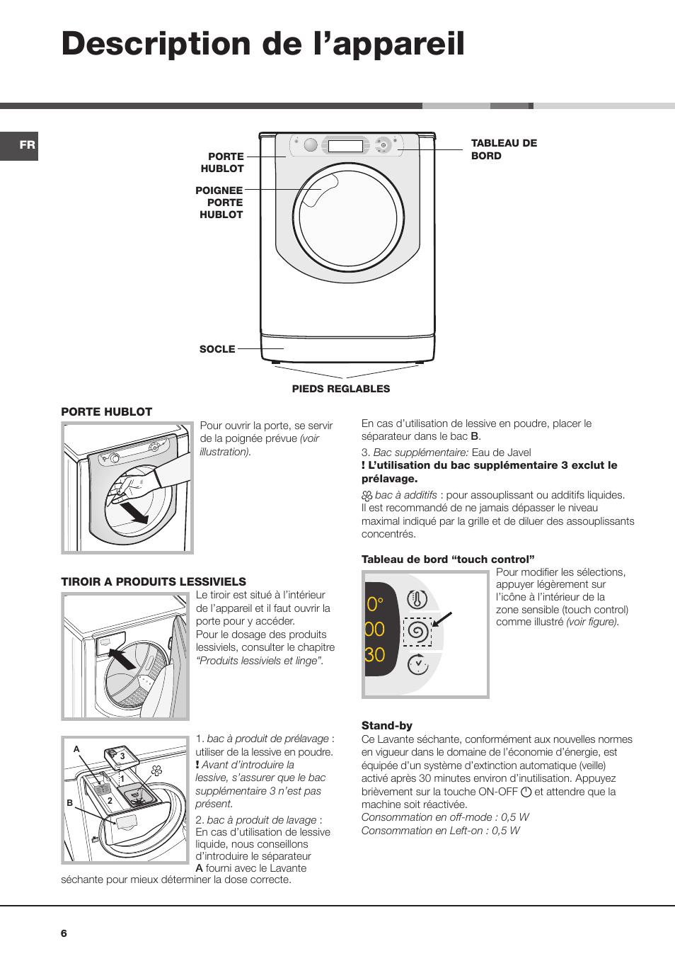 Top Description de l'appareil | Hotpoint Ariston AQD1070D 69 FR Manuel  BY59