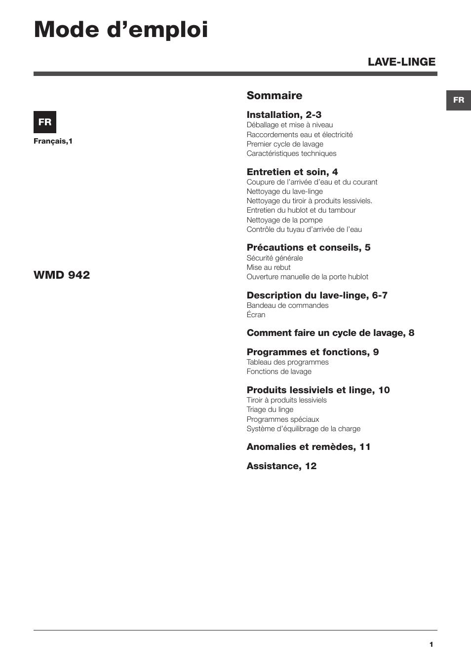 hotpoint ariston wmd 942 b fr manuel d 39 utilisation pages 12. Black Bedroom Furniture Sets. Home Design Ideas
