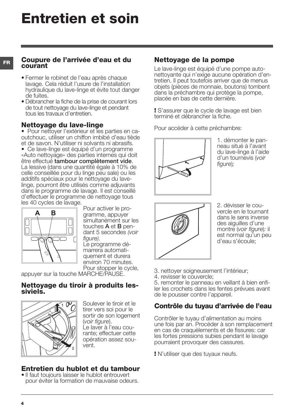 Nettoyer Machine À Laver Le Linge entretien et soin | hotpoint ariston wmd 942 b fr manuel d