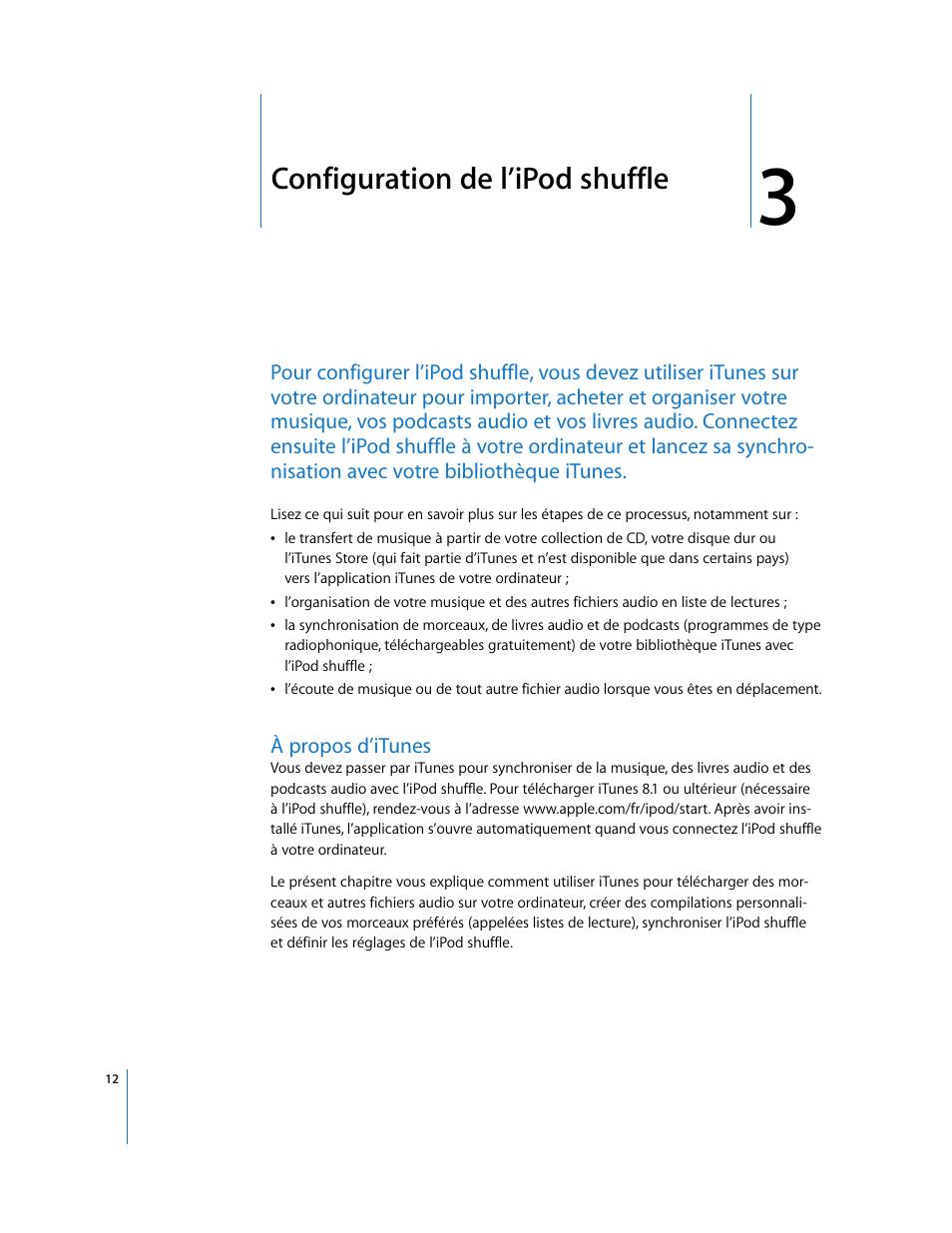 Configuration de l'ipod shuffle, À propos d'itunes   Apple iPod