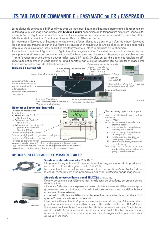 options du tableau de commande e ou er sonde eau chaude sanitaire module de t l surveillance. Black Bedroom Furniture Sets. Home Design Ideas