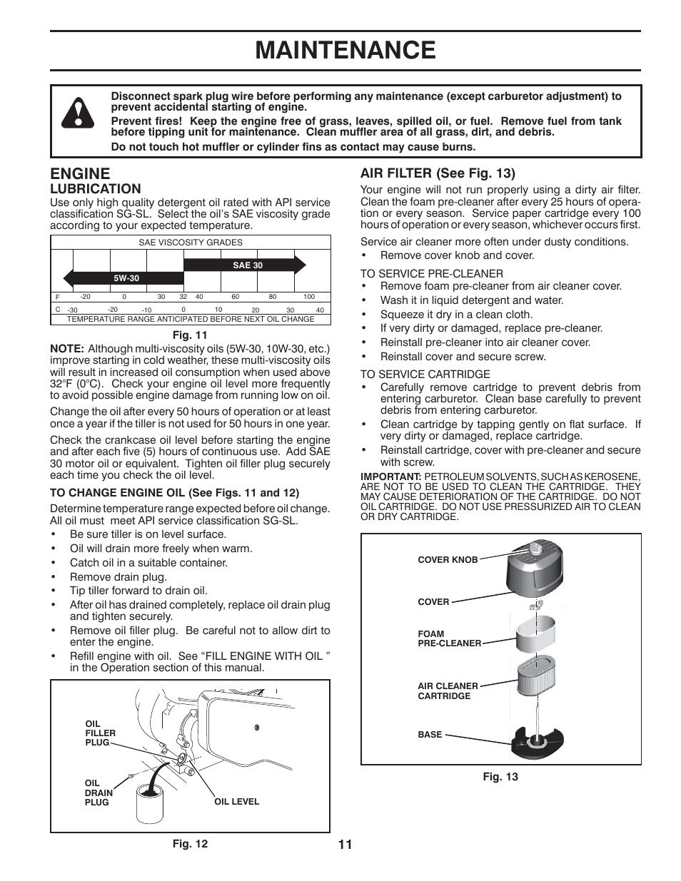Maintenance Engine Lubrication Poulan Pro Hdf900 Front Tine Fuel Filter Tiller Manuel Dutilisation Page 11 36
