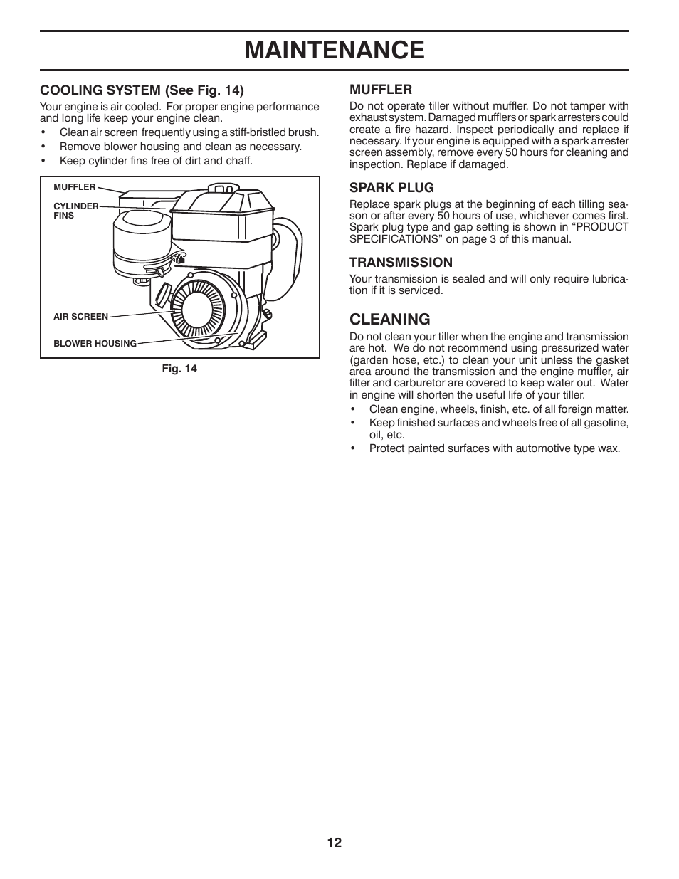 Maintenance Cleaning Poulan Pro Hdf900 Front Tine Tiller Manuel D Engine Diagram Dutilisation Page 12 36