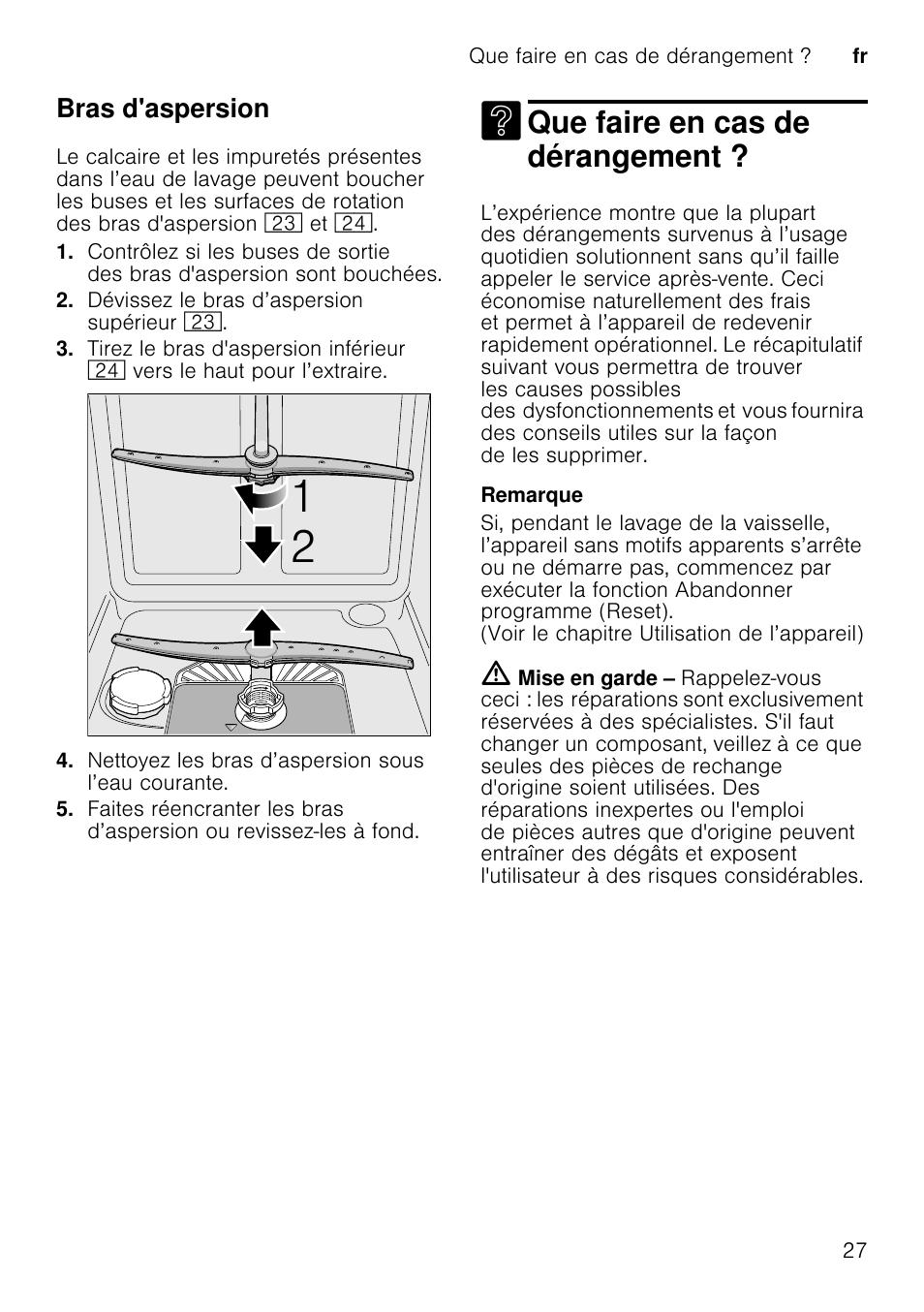 design intemporel 9cb8d fc33b Tableau de dépannage, Problème, Cause | Bosch SMS40D62EU ...