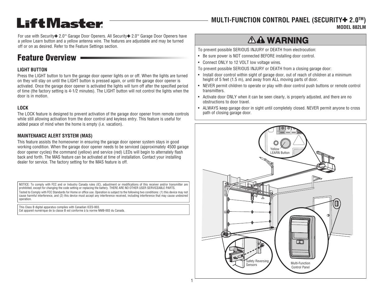 Liftmaster 882lm Multi Function Control Panel Manuel Dutilisation Garage Door Opener Remote Antenna For Pages 8