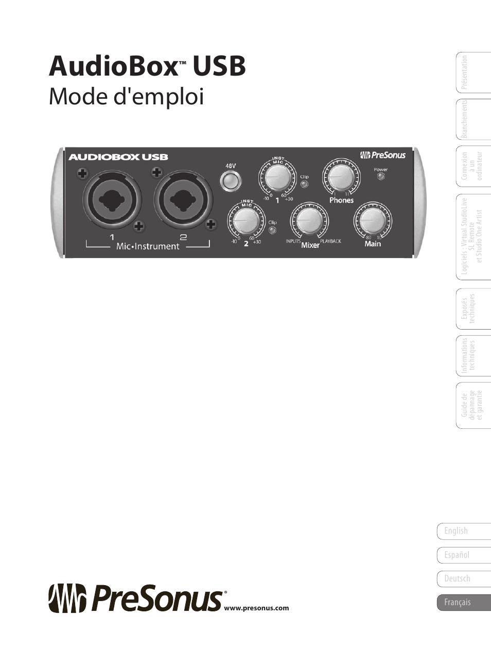 presonus audiobox usb manuel d 39 utilisation pages 64. Black Bedroom Furniture Sets. Home Design Ideas