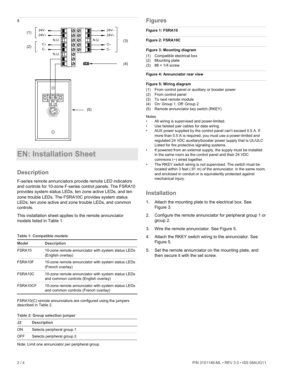 En Installation Sheet Description Figures Edwards Signaling F Zone Wiring Box Series Remote Annunciator Manuel Dutilisation Page 2 4