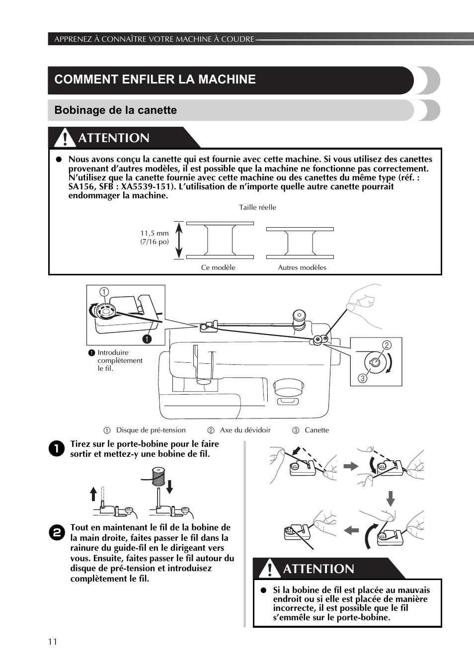 comment enfiler la machine bobinage de la canette attention brother j14 manuel d 39 utilisation. Black Bedroom Furniture Sets. Home Design Ideas