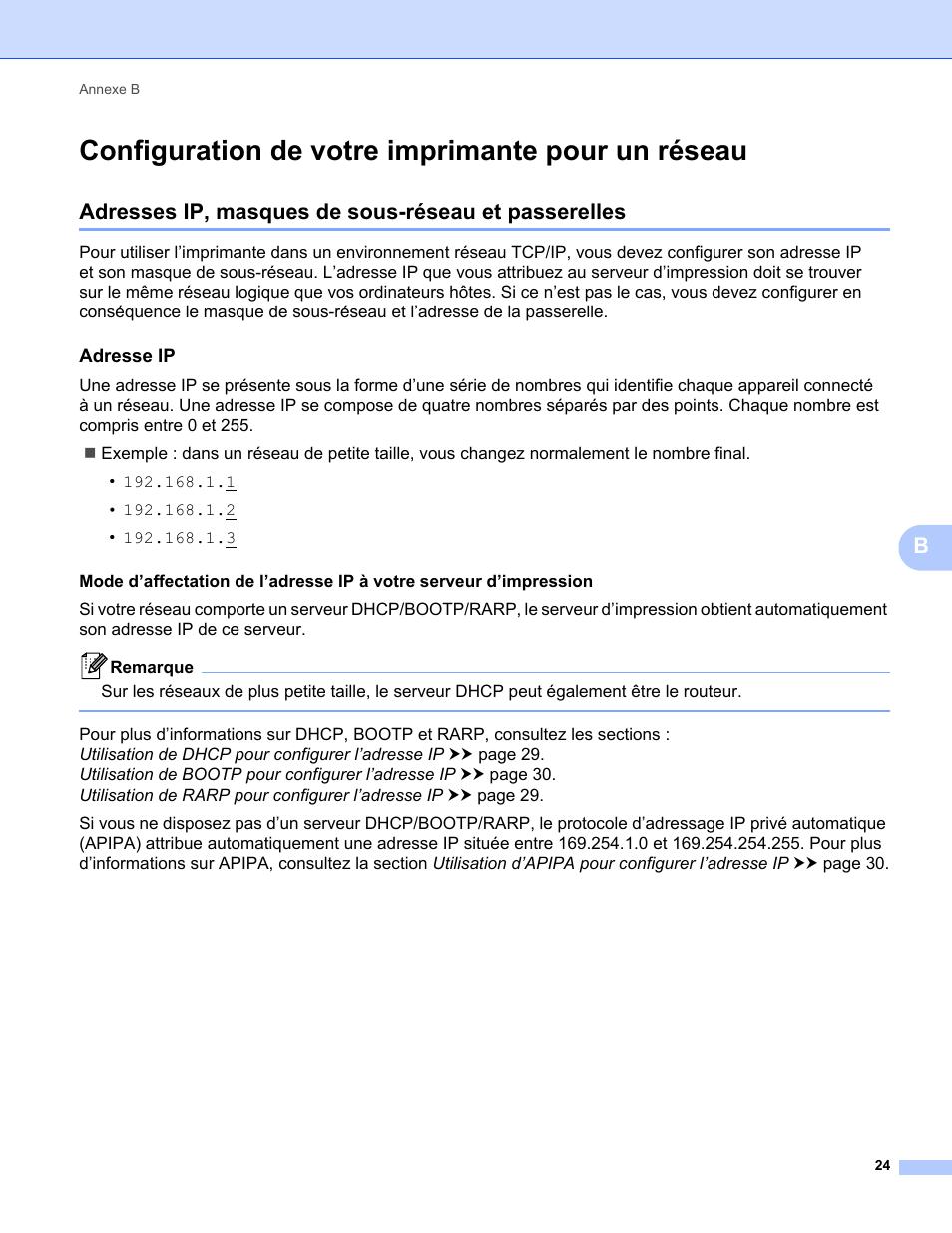 Configuration De Votre Imprimante Pour Un Reseau Adresses Ip