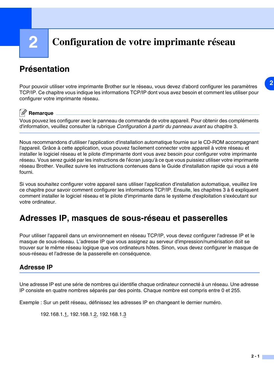 Configuration De Votre Imprimante Reseau Presentation Adresses Ip