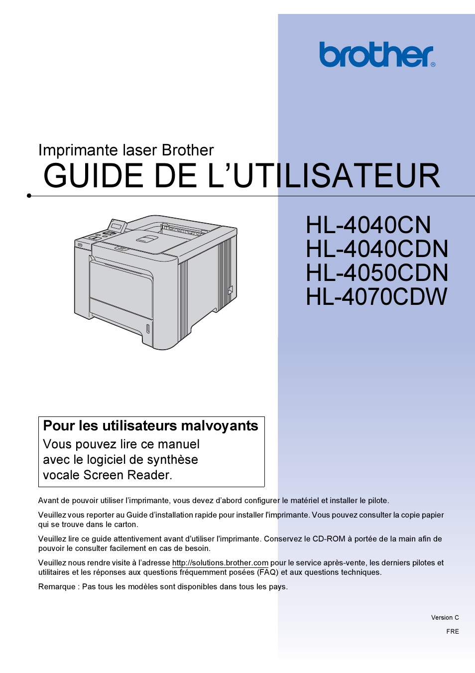 brother hl 4070cdw page1 brother hl 4070cdw manuel d'utilisation pages 213 aussi pour  at n-0.co