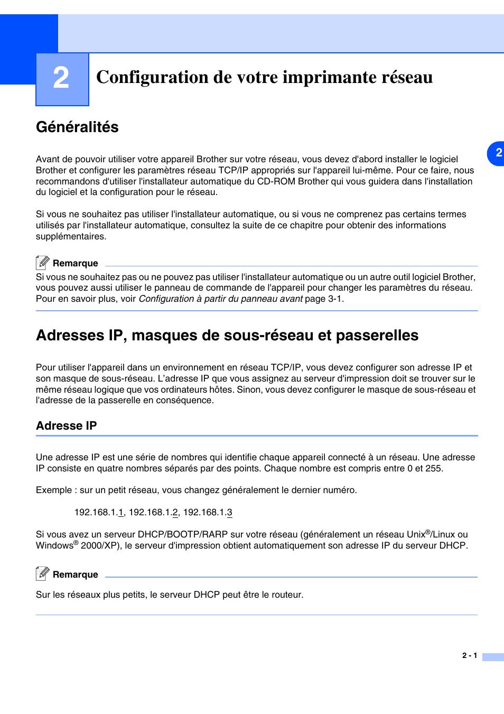 2 Configuration De Votre Imprimante Reseau Generalites Adresses Ip