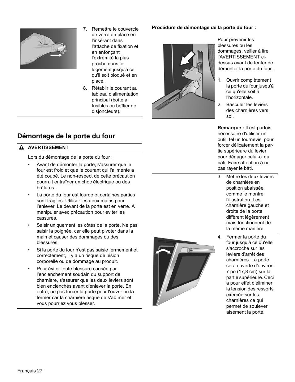 D montage de la porte du four bosch hblp751uc manuel d - Demontage porte four whirlpool ...