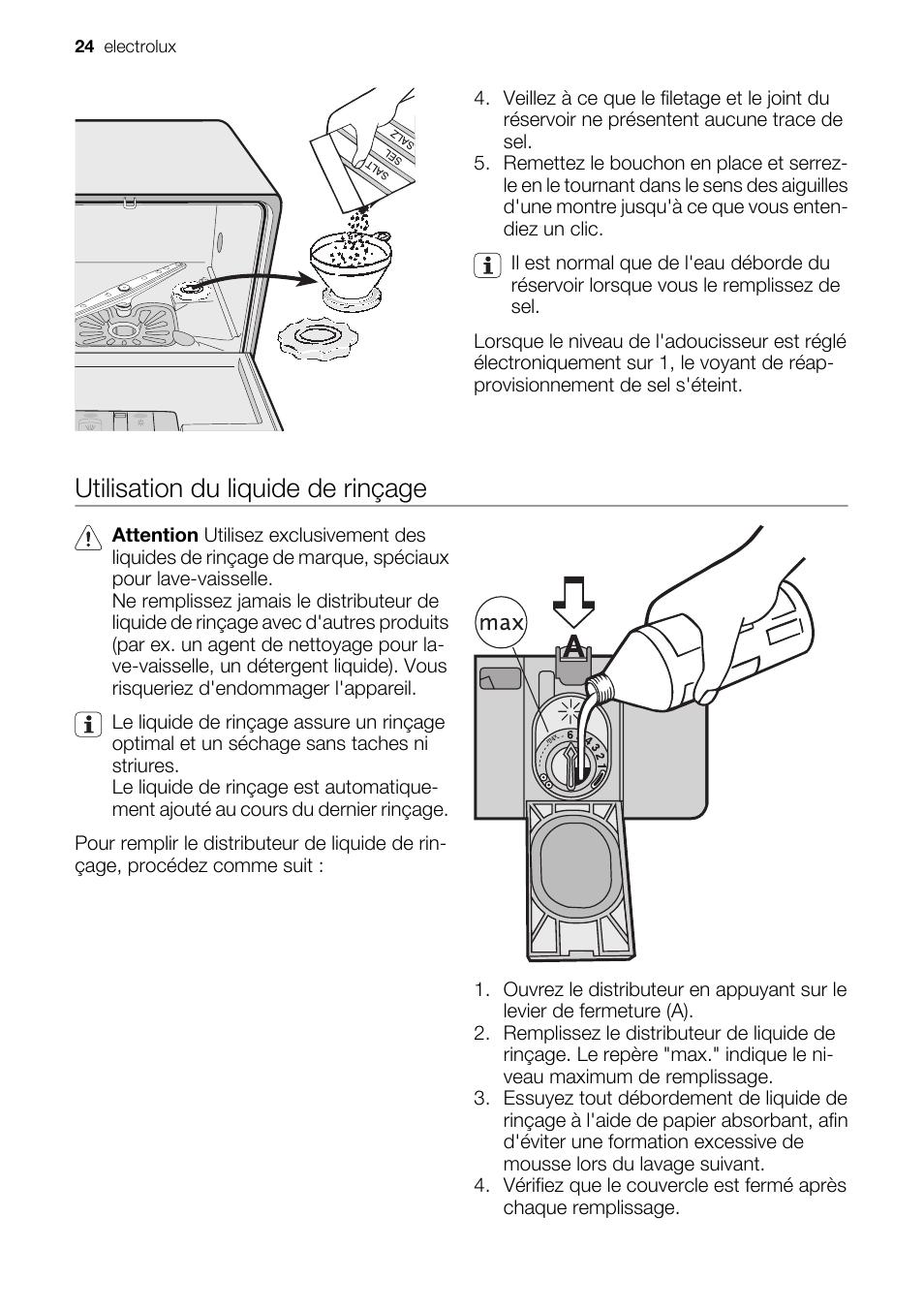 utilisation du liquide de rinçage | electrolux esf2450w manuel d