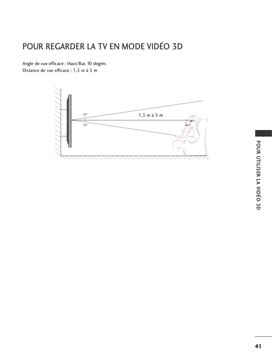 Distance Pour Regarder La Tv pour regarder la tv en mode vidéo 3d   lg 47ld950 manuel d