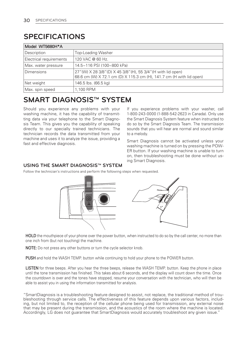Specifications, Smart diagnosis™ system | LG WT5680HWA