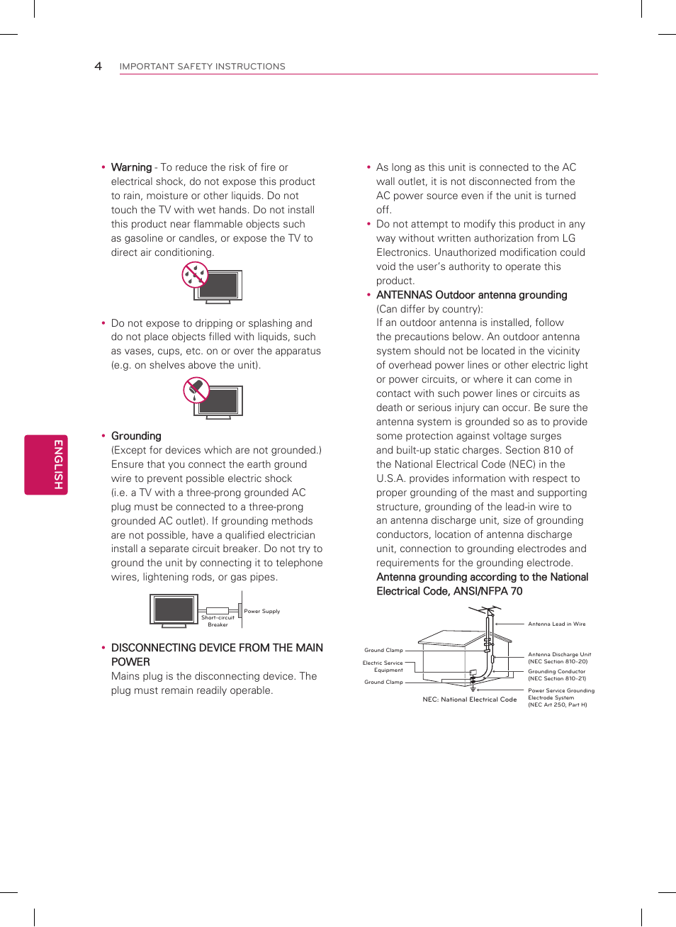 Short-circuit breaker power supply, English | LG 32LS3500 Manuel d