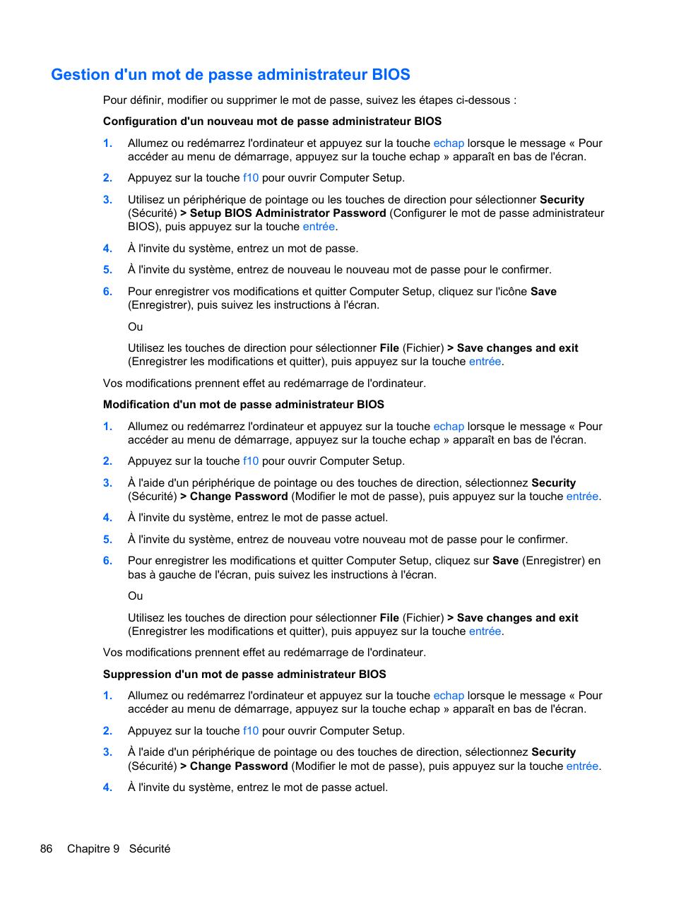 Gestion d'un mot de passe administrateur bios | HP Ordinateur