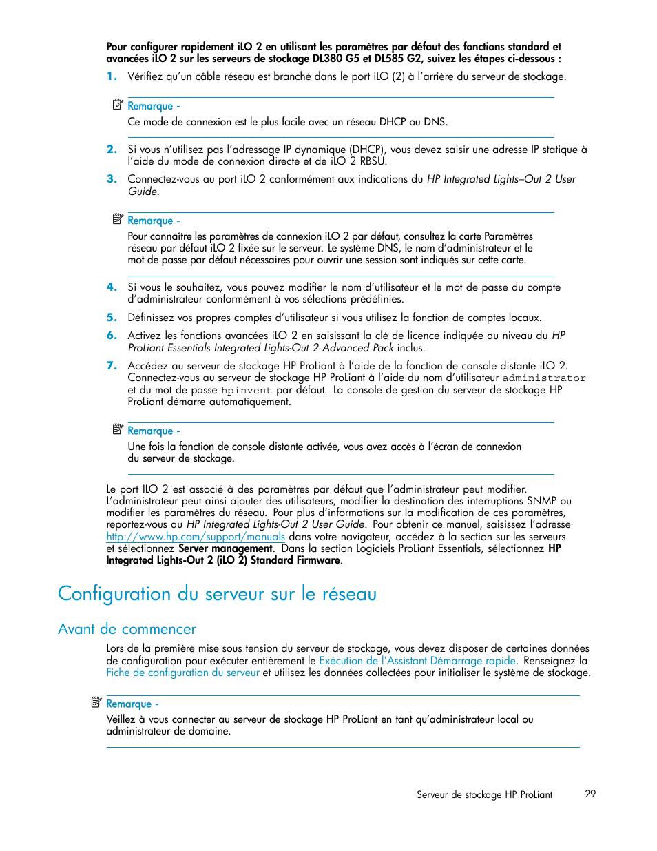 Configuration du serveur sur le réseau, Avant de commencer | HP