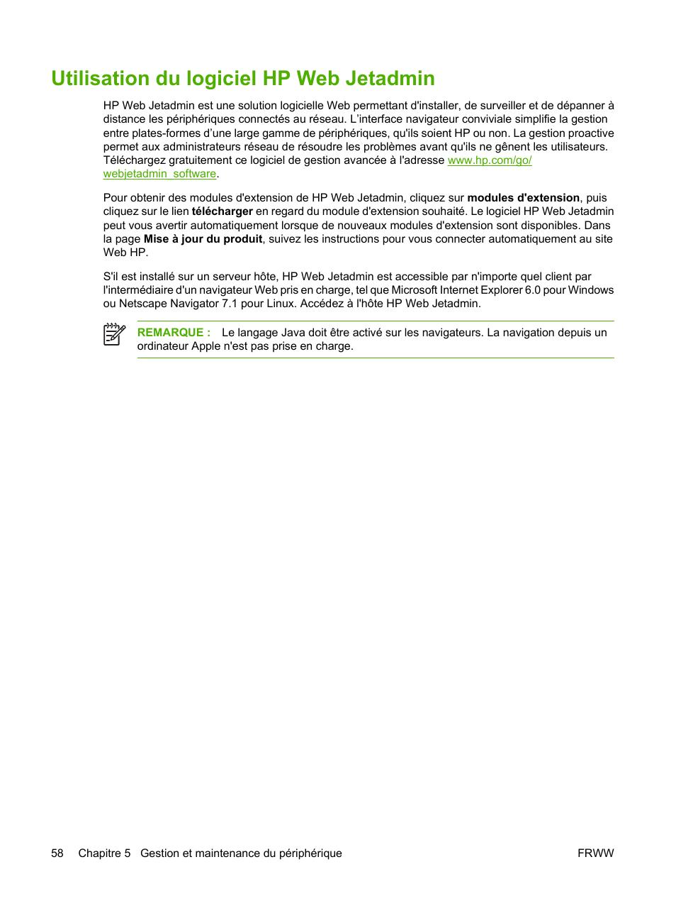 Utilisation du logiciel hp web jetadmin | HP Digital Sender