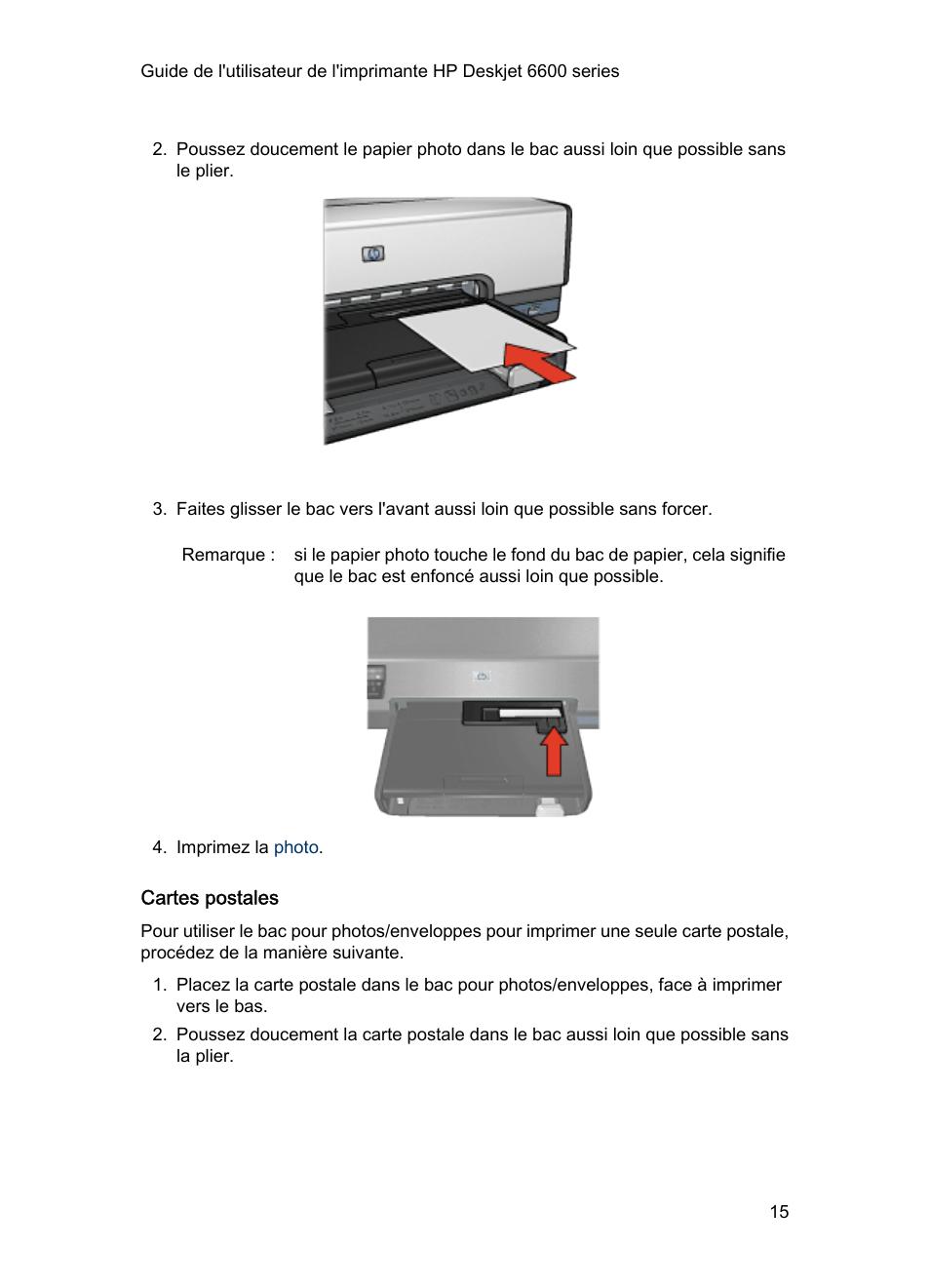 329bd44fecb7c Cartes postales | HP Imprimante jet d'encre couleur HP Deskjet 6620 Manuel  d'utilisation | Page 15 / 167