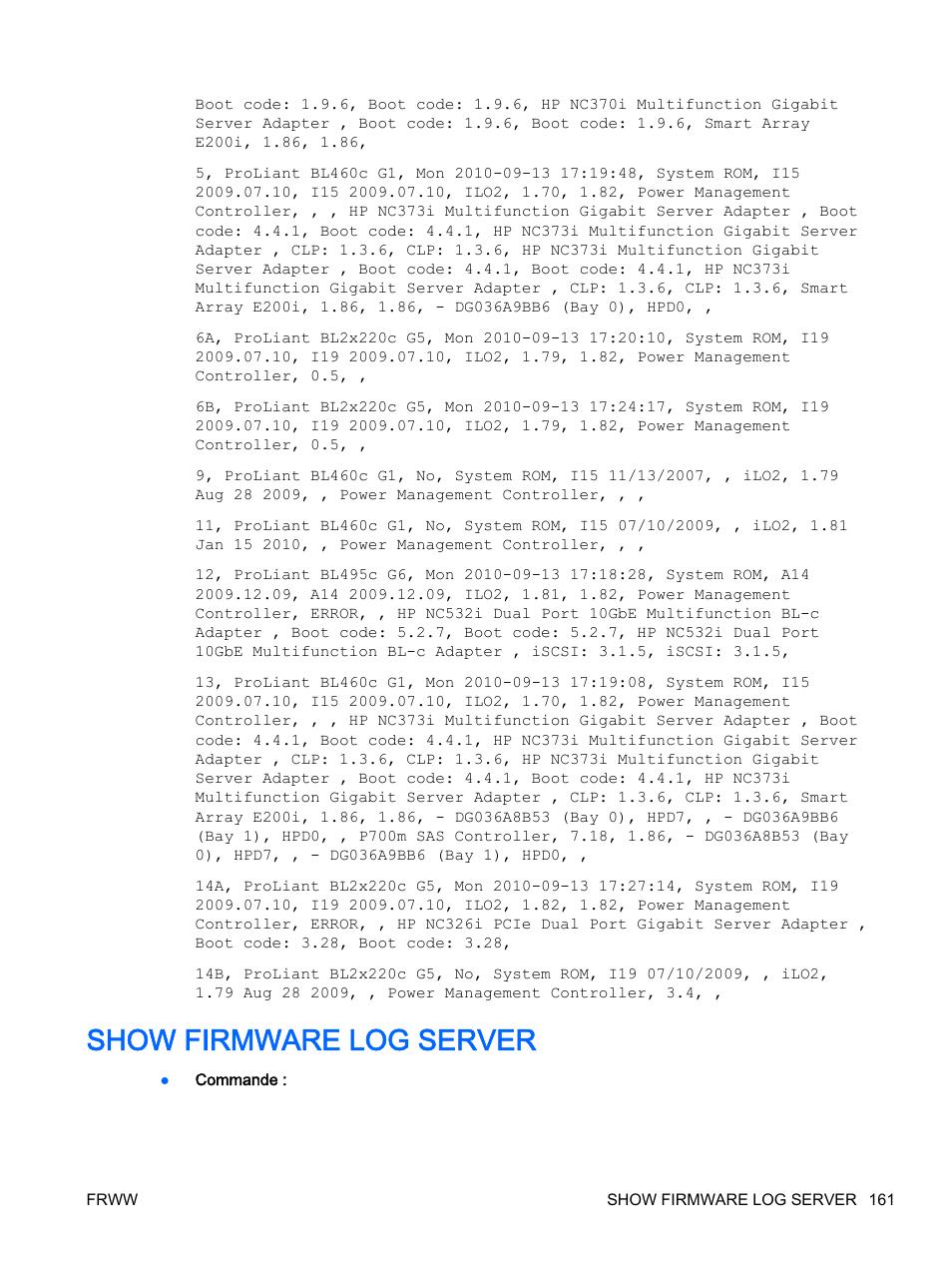 Show firmware log server | HP Onboard Administrator Manuel d