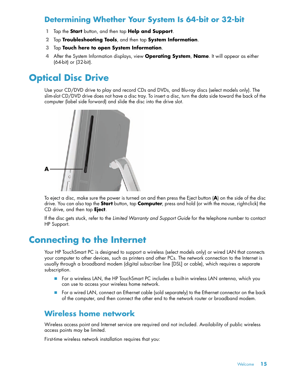 Optical disc drive, Connecting to the internet, Wireless home network | HP  TouchSmart 600-1152 Desktop PC Manuel d'utilisation | Page 21 / 148